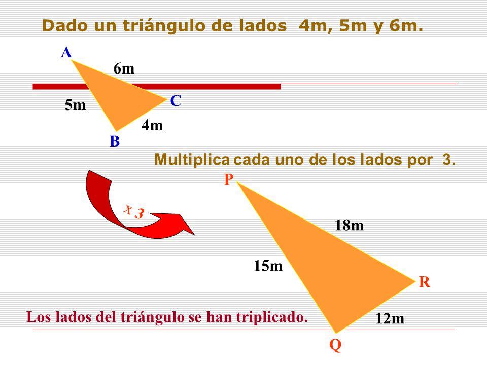 Dado un triángulo de lados 4m, 5m y 6m.