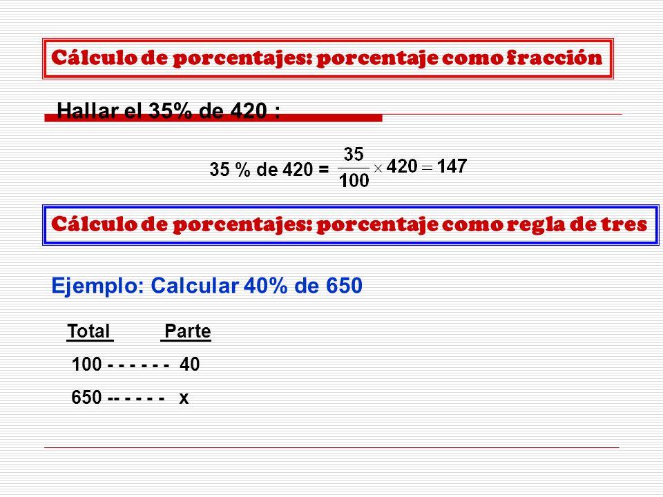 Cálculo de porcentajes: porcentaje como fracción