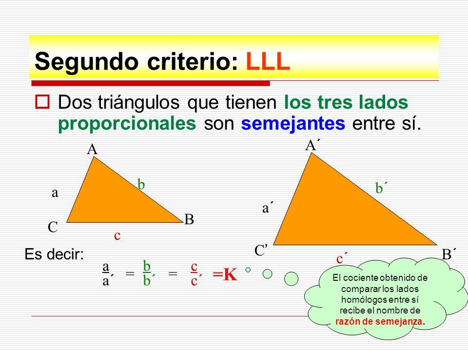 Segundo criterio: LLL Dos triángulos que tienen los tres lados proporcionales son semejantes entre sí.