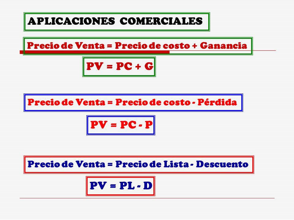 PV = PC + G PV = PC - P PV = PL - D APLICACIONES COMERCIALES