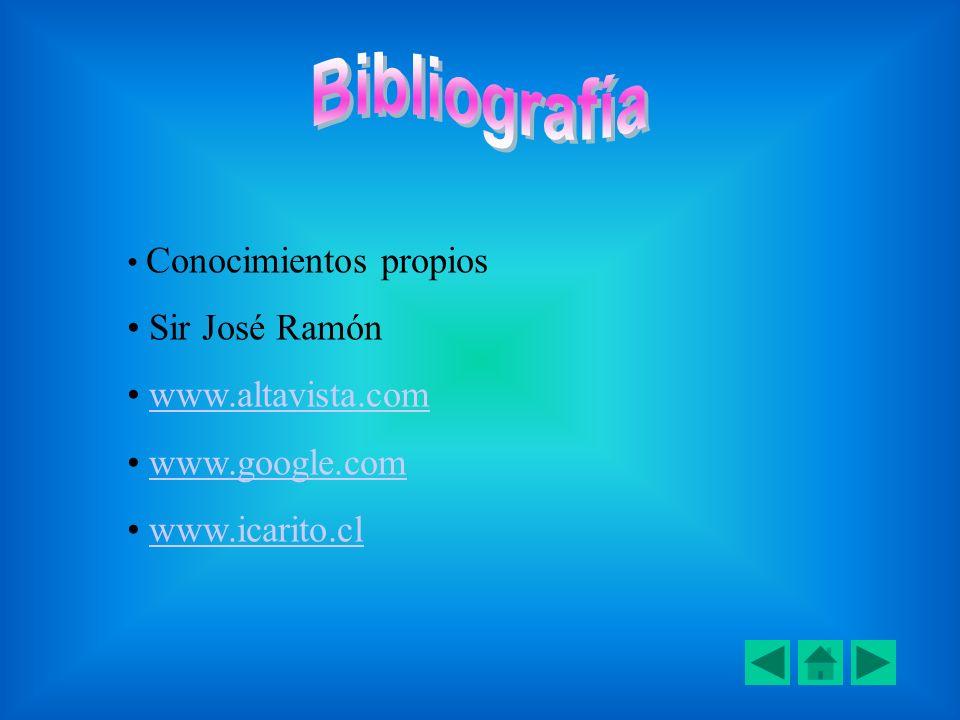 Bibliografía Sir José Ramón www.altavista.com www.google.com