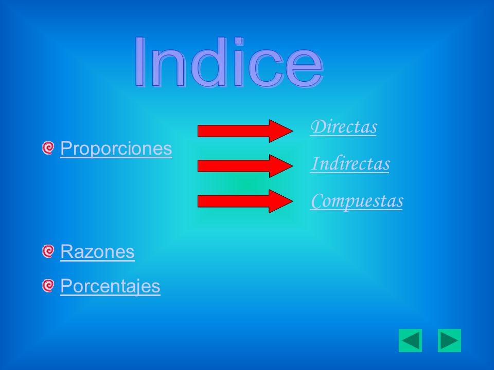 Indice Proporciones Razones Porcentajes Directas Indirectas Compuestas