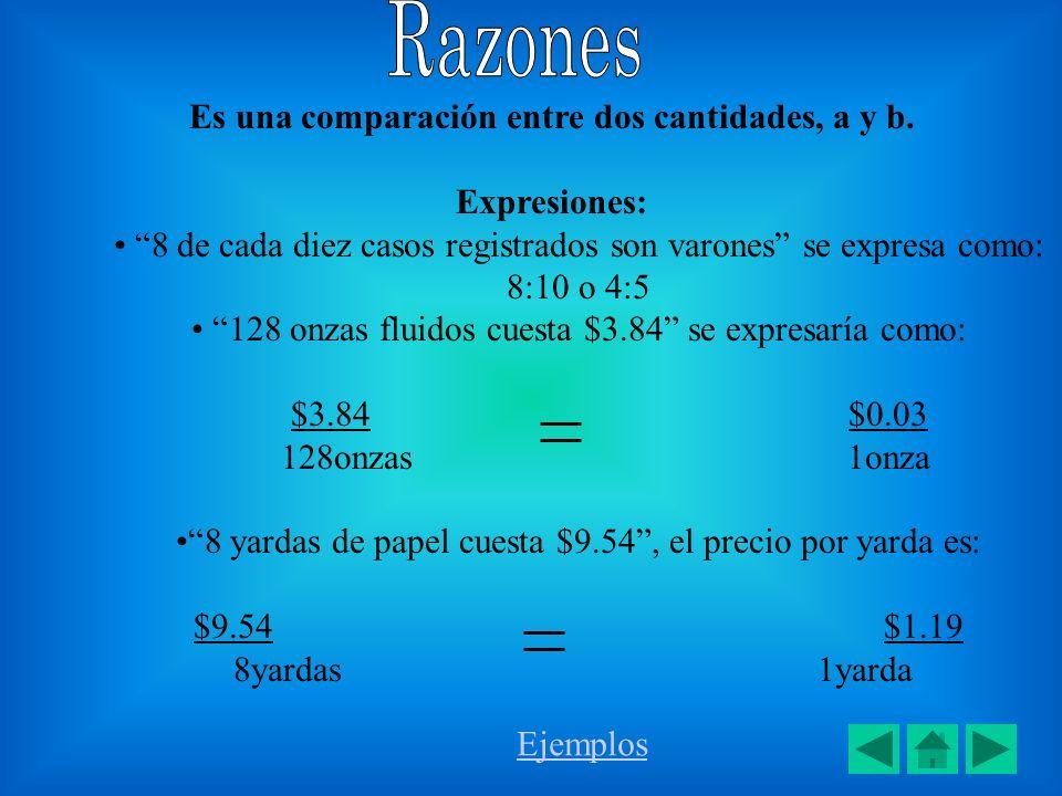 Es una comparación entre dos cantidades, a y b.