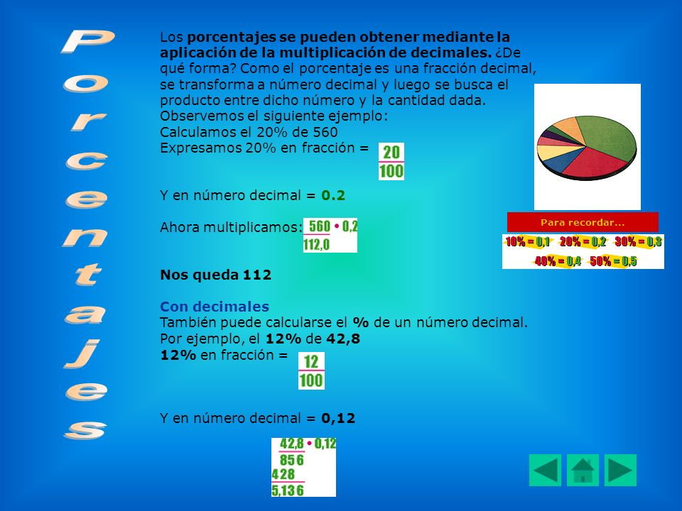 Los porcentajes se pueden obtener mediante la aplicación de la multiplicación de decimales. ¿De qué forma Como el porcentaje es una fracción decimal, se transforma a número decimal y luego se busca el producto entre dicho número y la cantidad dada.