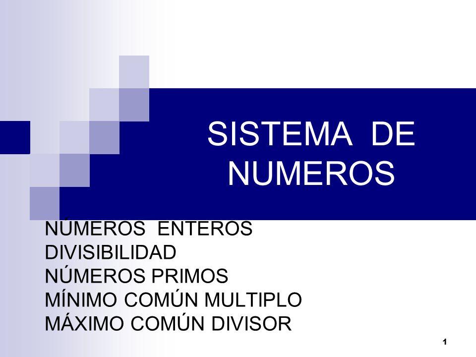 SISTEMA DE NUMEROS NÚMEROS ENTEROS DIVISIBILIDAD NÚMEROS PRIMOS