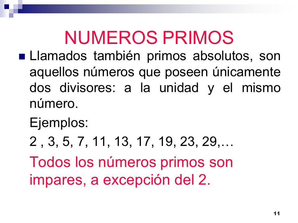 NUMEROS PRIMOSLlamados también primos absolutos, son aquellos números que poseen únicamente dos divisores: a la unidad y el mismo número.