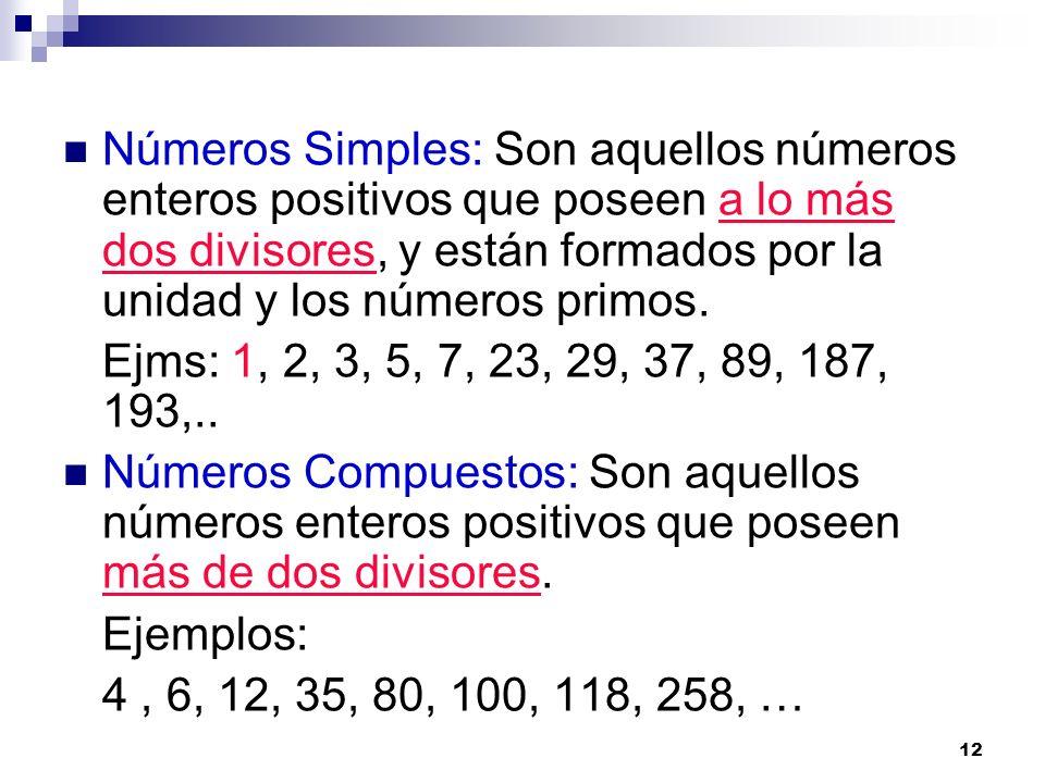 Números Simples: Son aquellos números enteros positivos que poseen a lo más dos divisores, y están formados por la unidad y los números primos.
