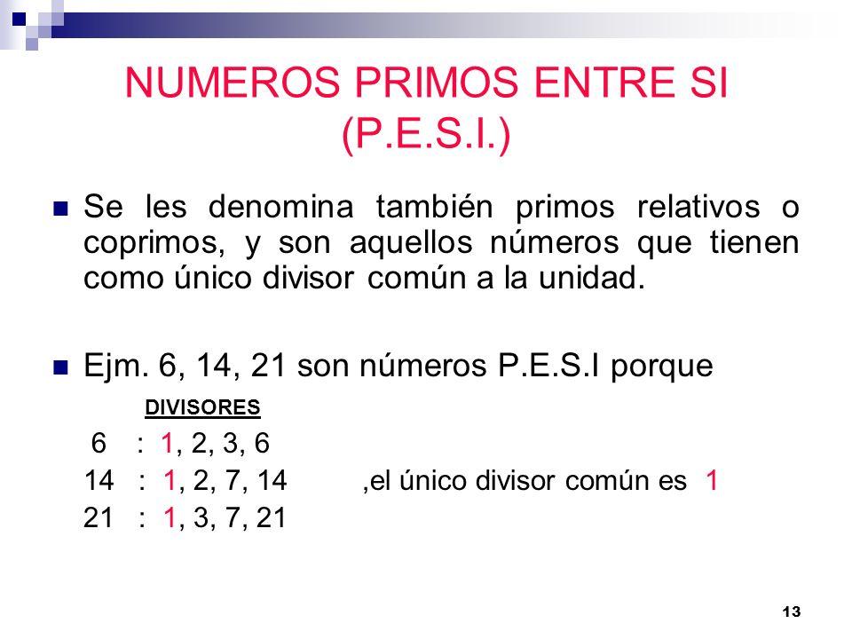 NUMEROS PRIMOS ENTRE SI (P.E.S.I.)