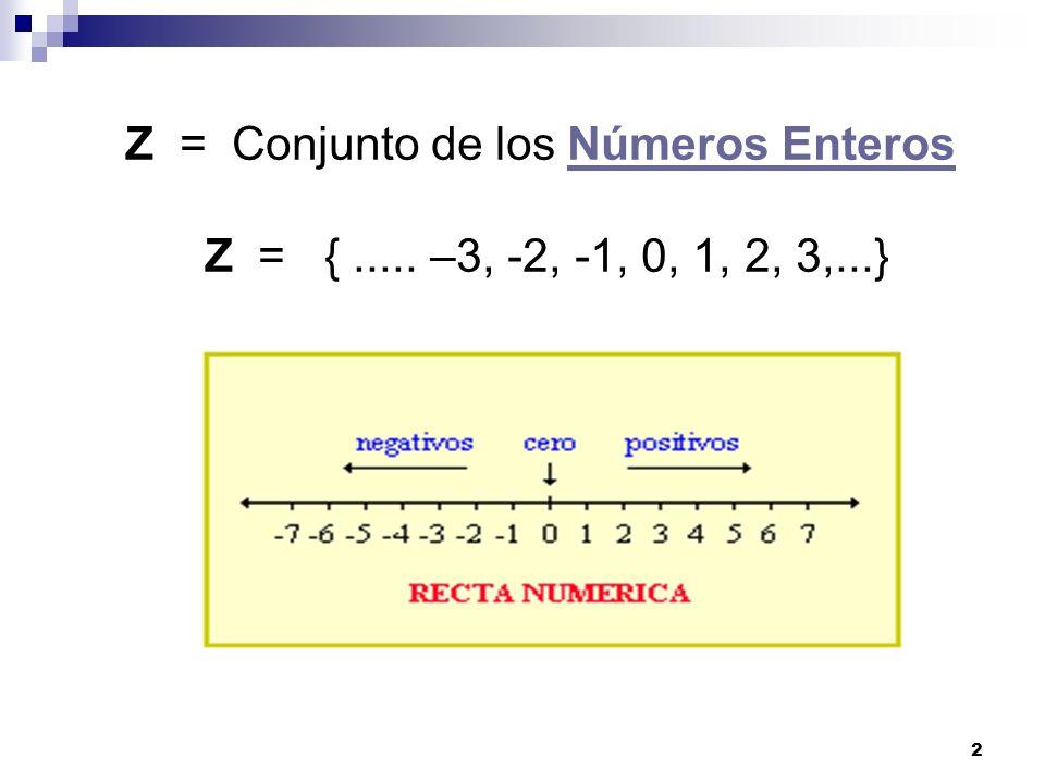 Z = Conjunto de los Números Enteros Z = { ..... –3, -2, -1, 0, 1, 2, 3,...}