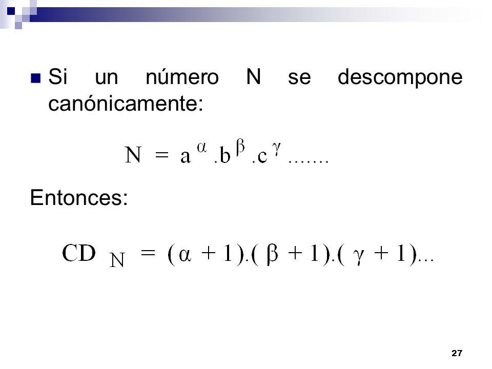 Si un número N se descompone canónicamente:
