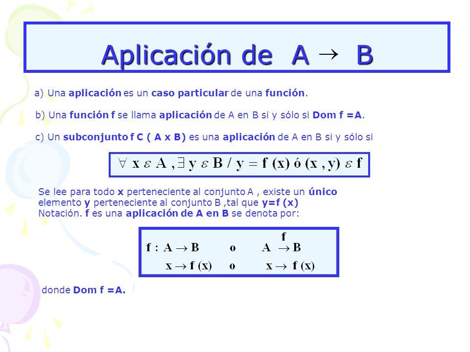 Aplicación de A B a) Una aplicación es un caso particular de una función. b) Una función f se llama aplicación de A en B si y sólo si Dom f =A.