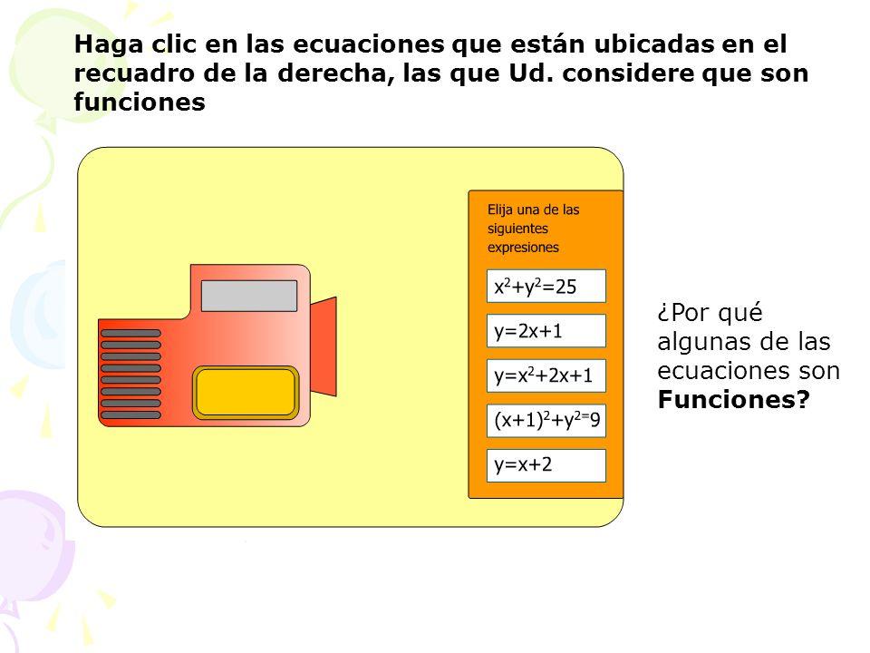 Haga clic en las ecuaciones que están ubicadas en el recuadro de la derecha, las que Ud. considere que son funciones