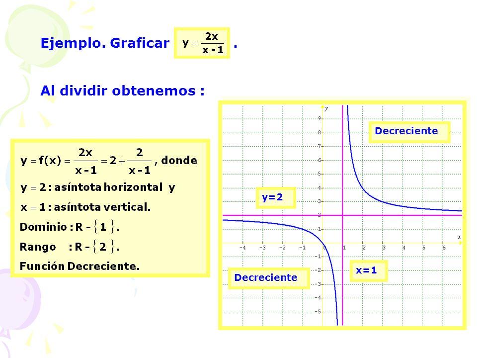 Ejemplo. Graficar . Al dividir obtenemos : Decreciente y=2 x=1