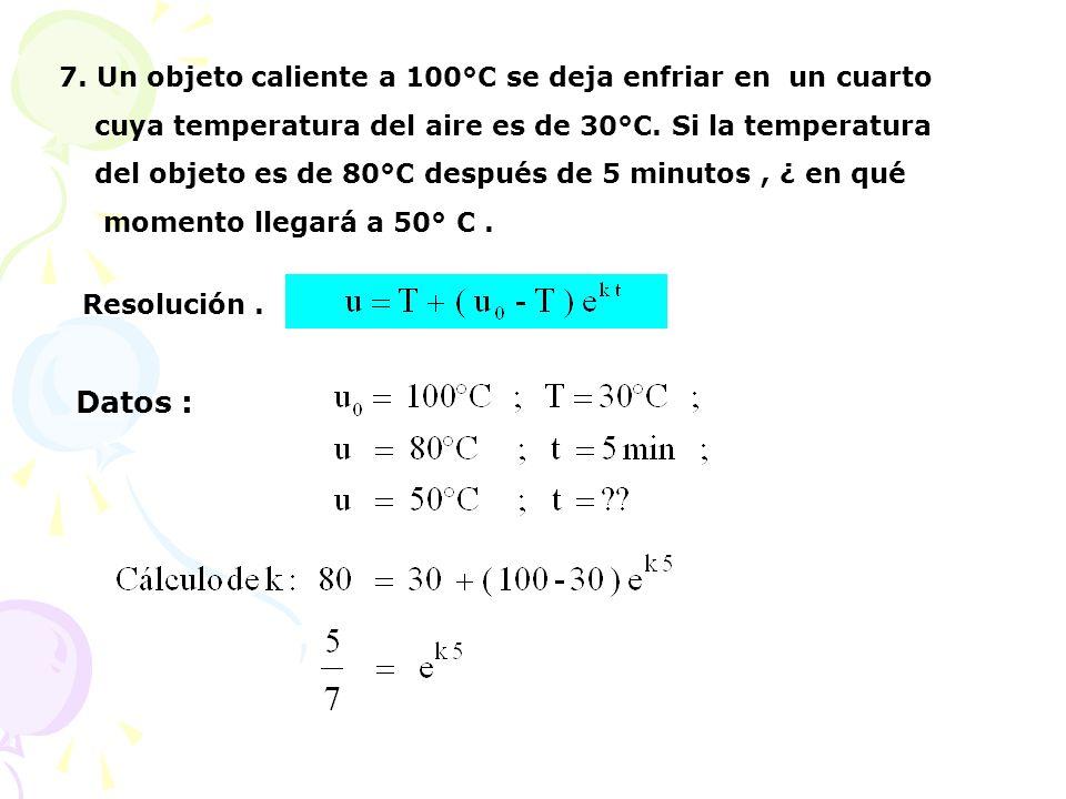 7. Un objeto caliente a 100°C se deja enfriar en un cuarto