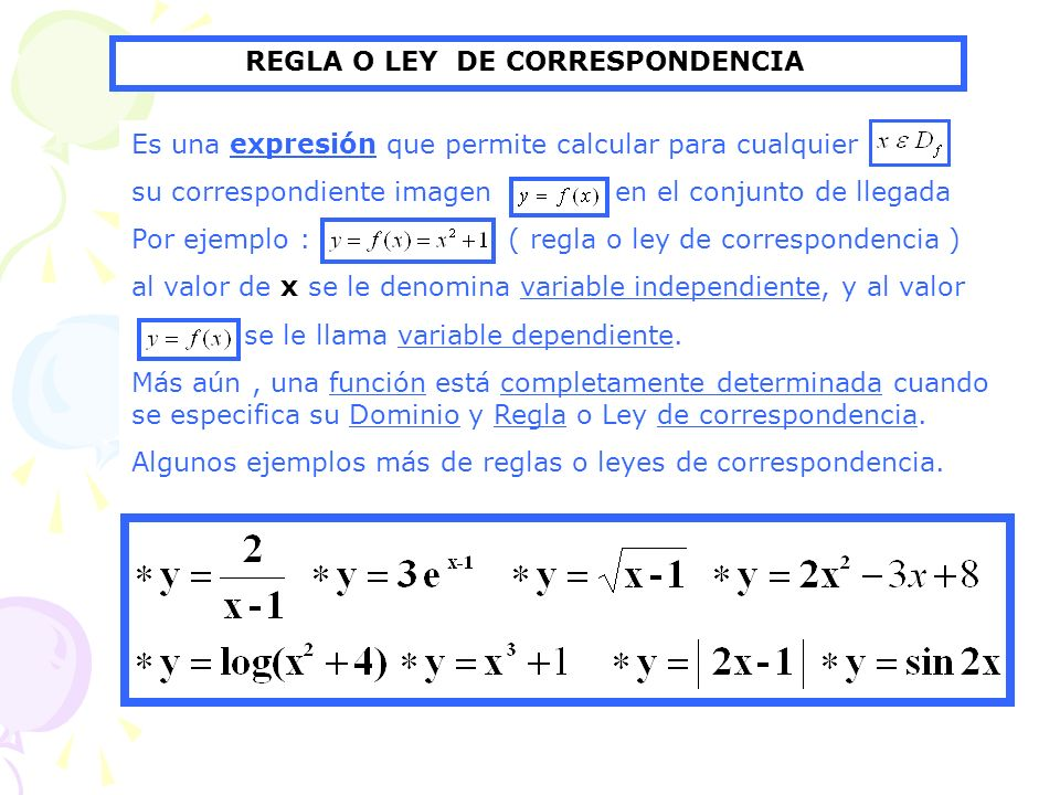 REGLA O LEY DE CORRESPONDENCIA
