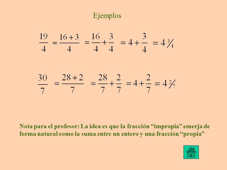 Ejemplos Nota para el profesor: La idea es que la fracción impropia emerja de forma natural como la suma entre un entero y una fracción propia