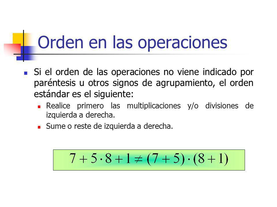 Orden en las operaciones