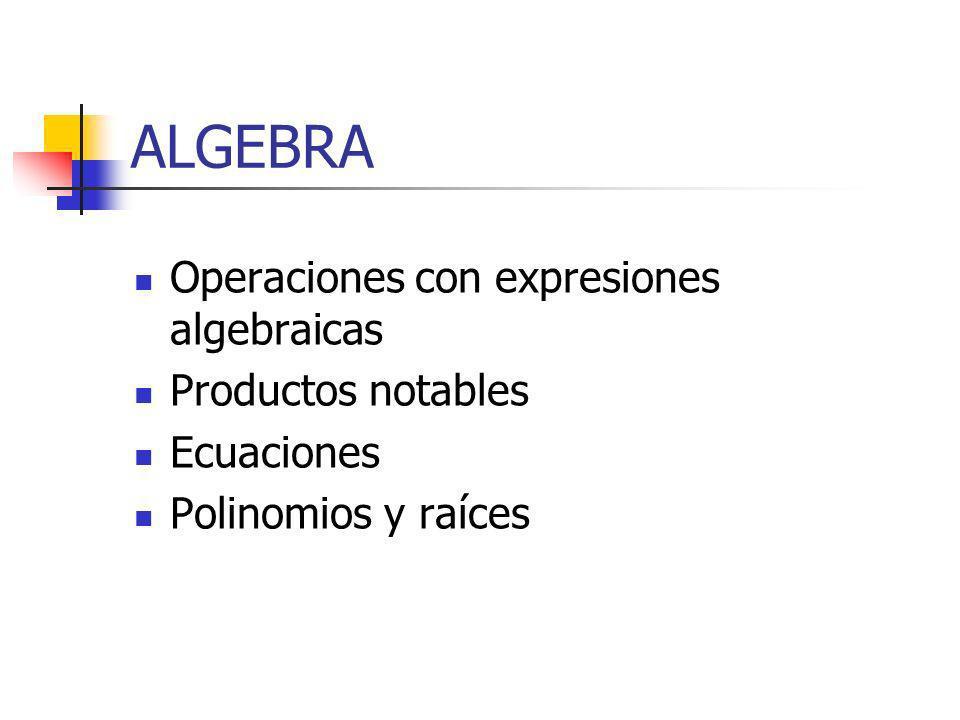 ALGEBRA Operaciones con expresiones algebraicas Productos notables
