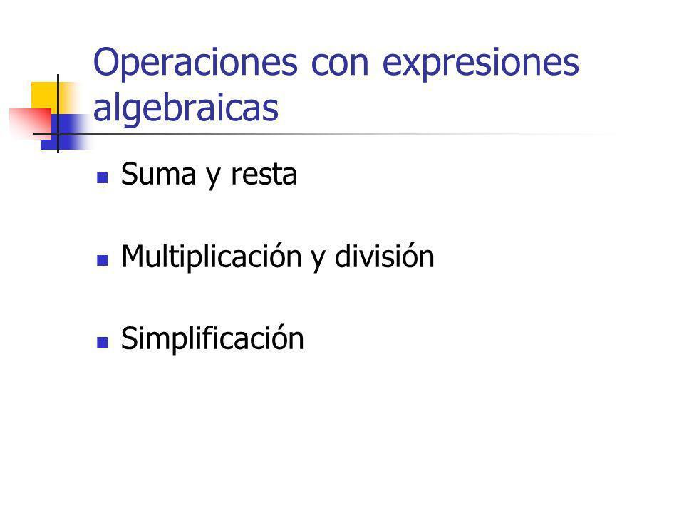 Operaciones con expresiones algebraicas