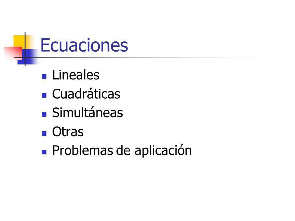 Ecuaciones Lineales Cuadráticas Simultáneas Otras