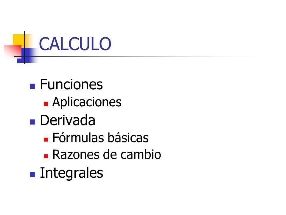 CALCULO Funciones Derivada Integrales Aplicaciones Fórmulas básicas