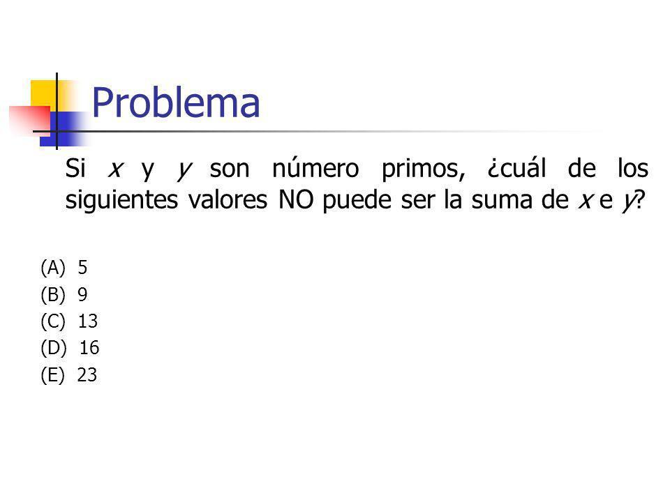 Problema Si x y y son número primos, ¿cuál de los siguientes valores NO puede ser la suma de x e y
