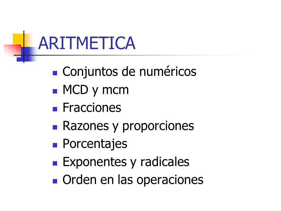 ARITMETICA Conjuntos de numéricos MCD y mcm Fracciones