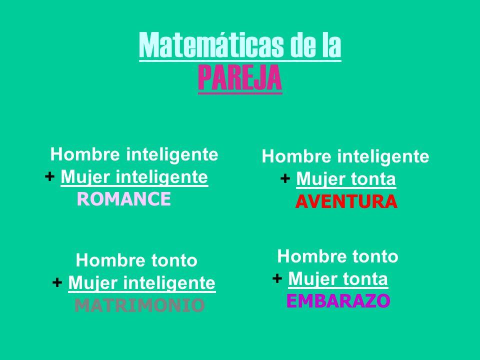 Matemáticas de la PAREJA Hombre inteligente + Mujer tonta AVENTURA