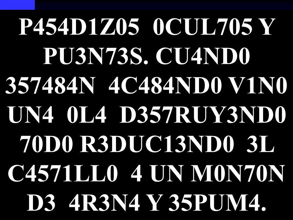 P454D1Z05 0CUL705 Y PU3N73S.
