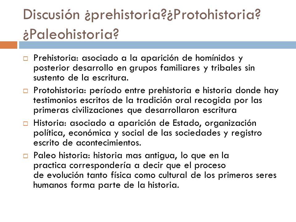 Discusión ¿prehistoria ¿Protohistoria ¿Paleohistoria