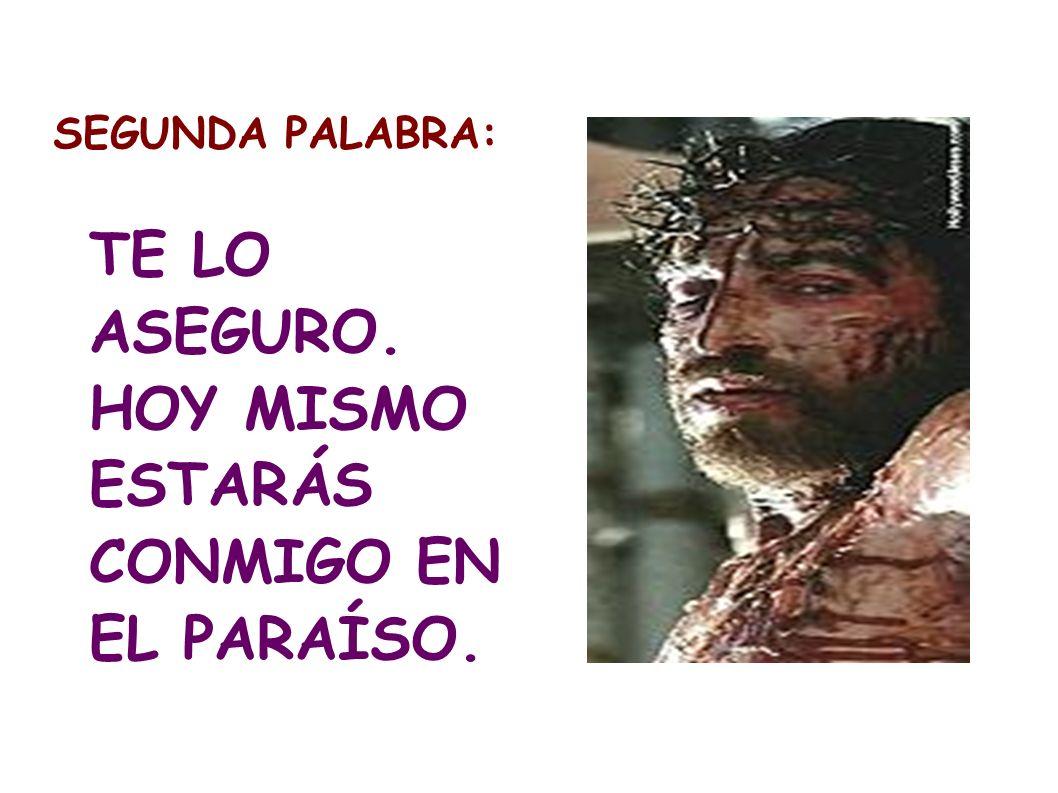 SEGUNDA PALABRA: TE LO ASEGURO. HOY MISMO ESTARÁS CONMIGO EN EL PARAÍSO.
