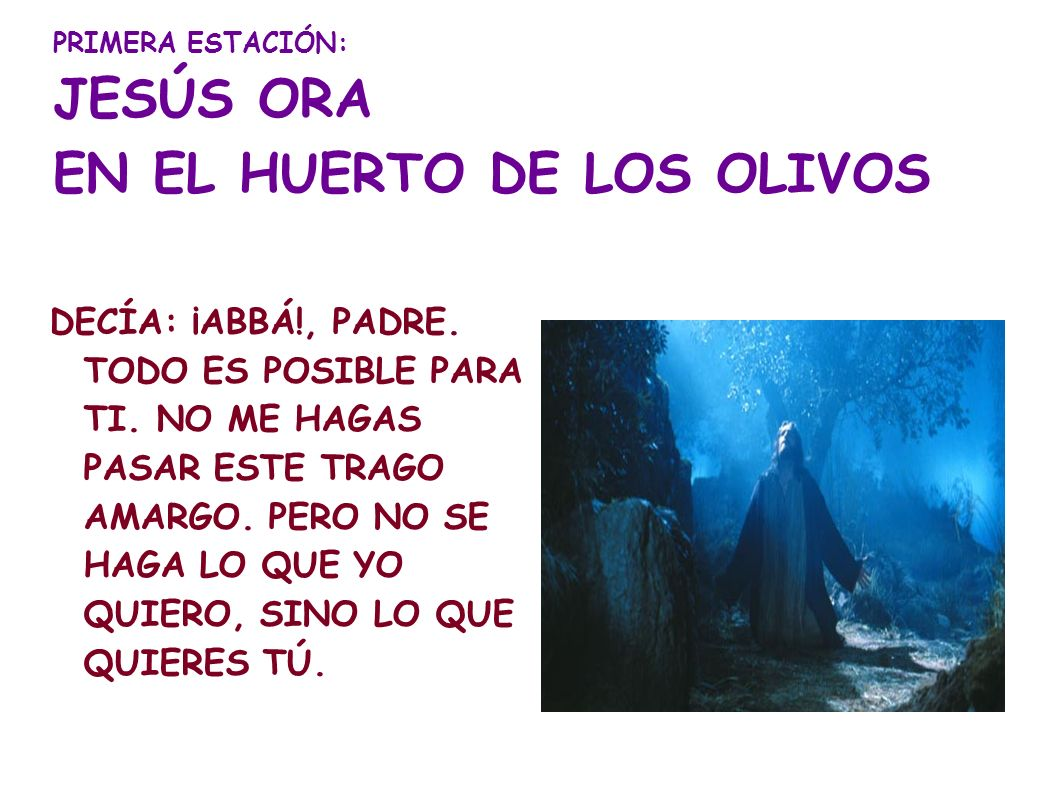 PRIMERA ESTACIÓN: JESÚS ORA EN EL HUERTO DE LOS OLIVOS