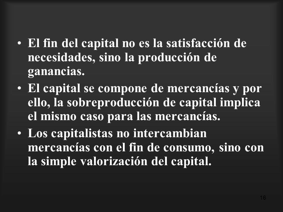 El fin del capital no es la satisfacción de necesidades, sino la producción de ganancias.