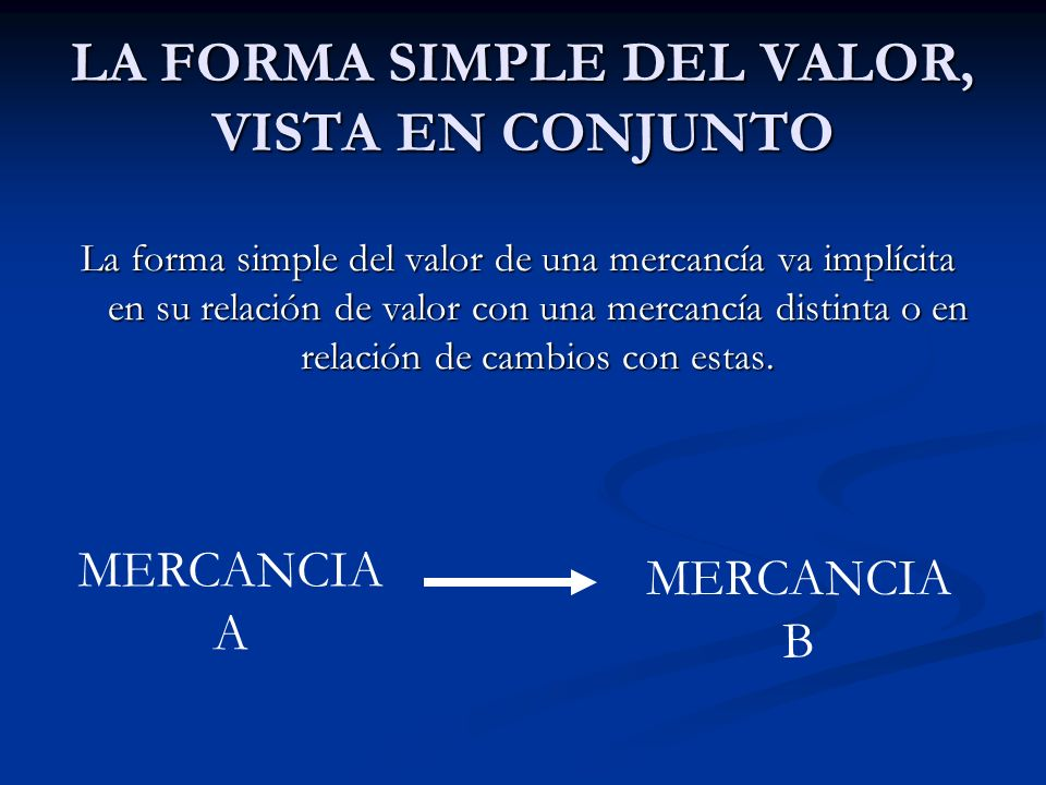 LA FORMA SIMPLE DEL VALOR, VISTA EN CONJUNTO