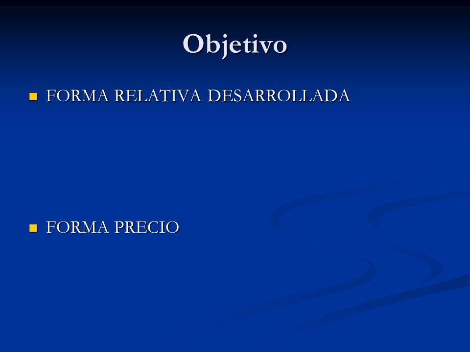 Objetivo FORMA RELATIVA DESARROLLADA FORMA PRECIO