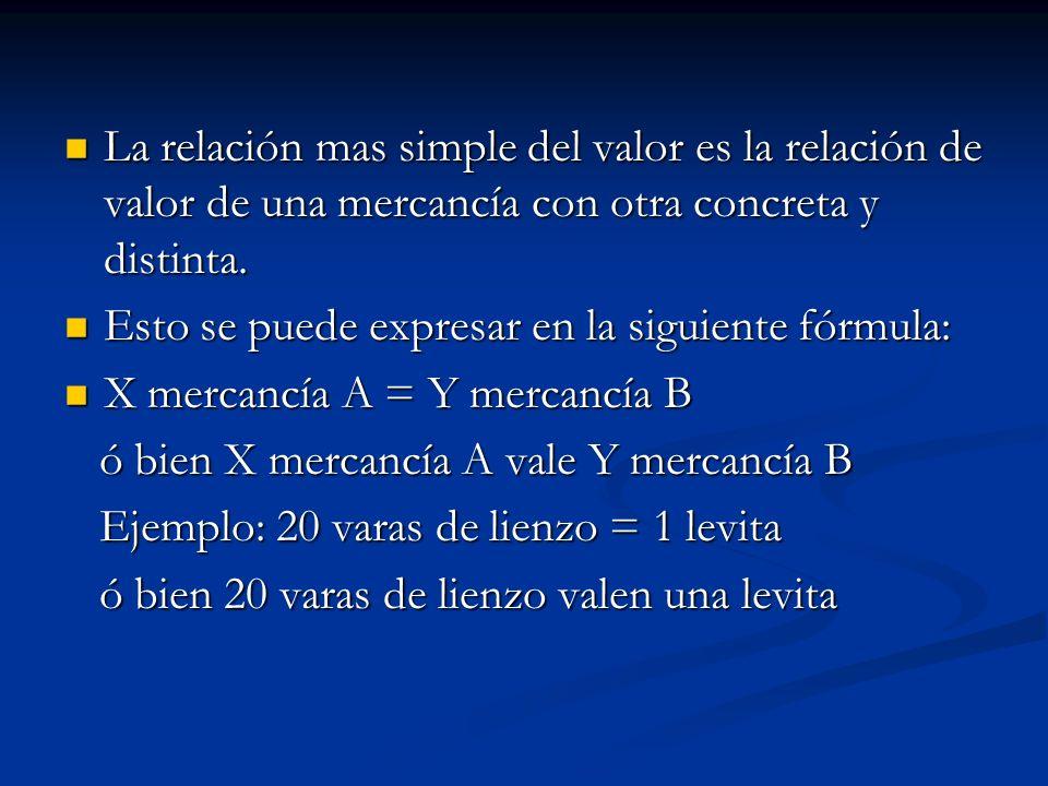 La relación mas simple del valor es la relación de valor de una mercancía con otra concreta y distinta.