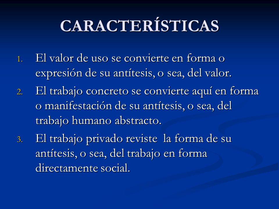 CARACTERÍSTICAS El valor de uso se convierte en forma o expresión de su antítesis, o sea, del valor.