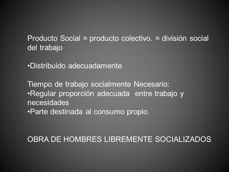 Producto Social = producto colectivo. = división social del trabajo