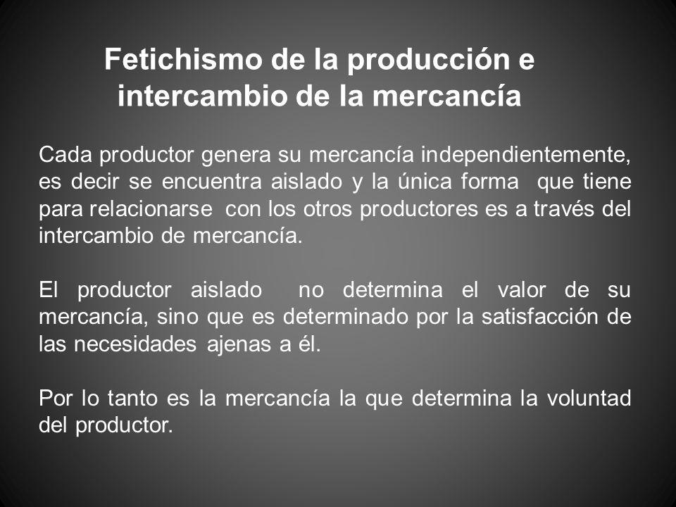 Fetichismo de la producción e intercambio de la mercancía