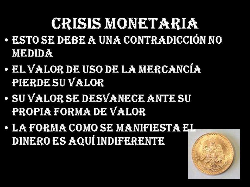 Crisis Monetaria Esto se debe a una contradicción no medida