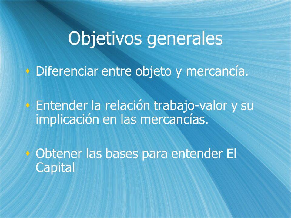 Objetivos generales Diferenciar entre objeto y mercancía.