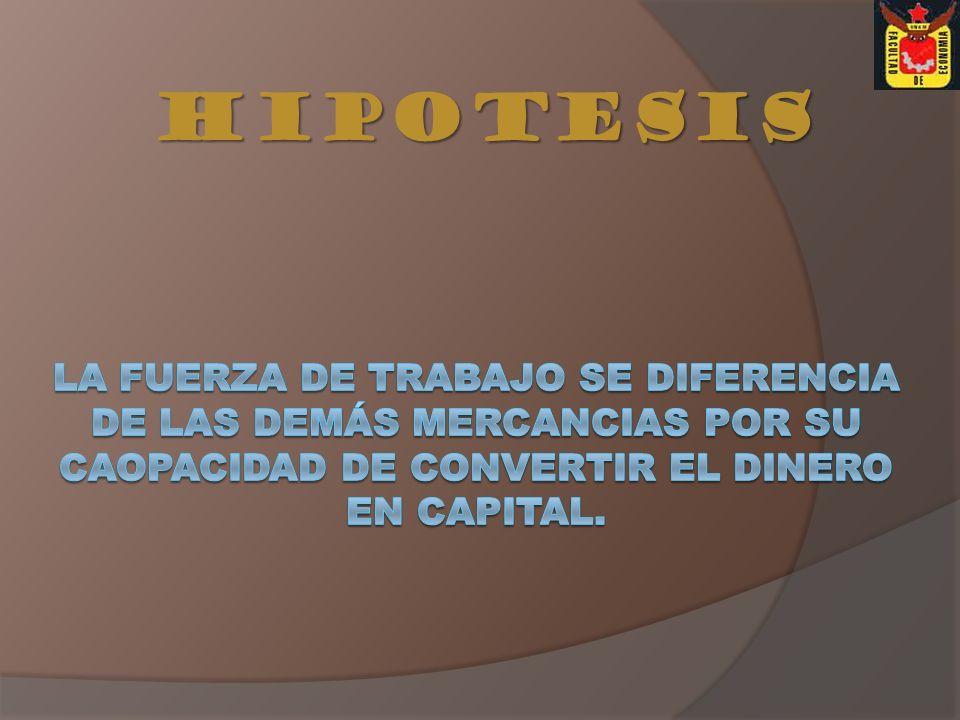 HIPOTESIS LA FUERZA DE TRABAJO SE DIFERENCIA DE LAS DEMÁS MERCANCIAS POR SU CAOPACIDAD DE CONVERTIR EL DINERO EN CAPITAL.