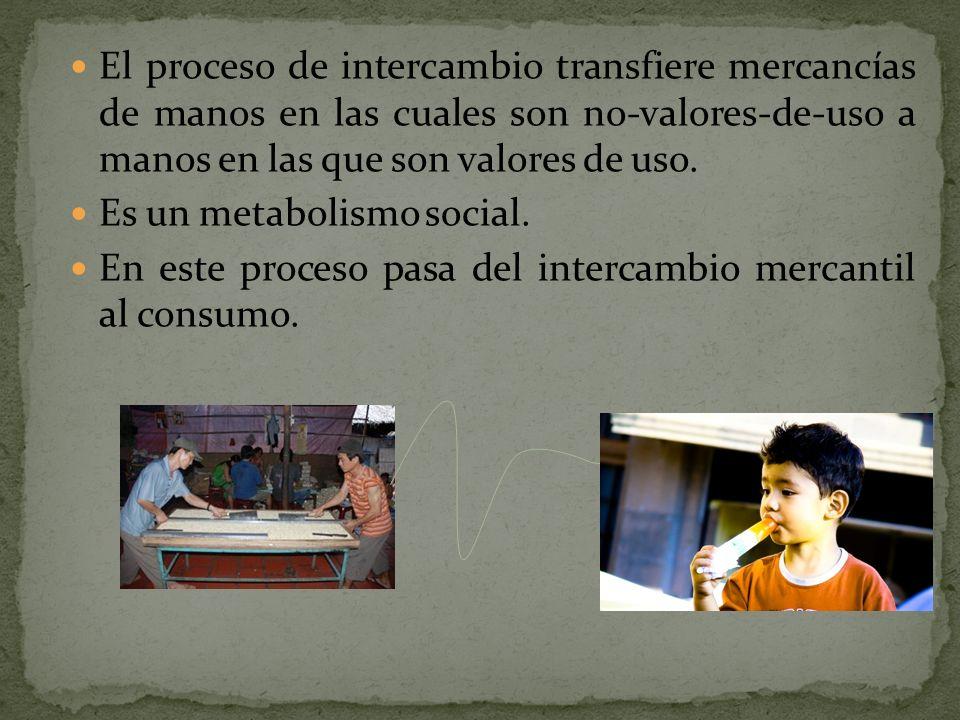 El proceso de intercambio transfiere mercancías de manos en las cuales son no-valores-de-uso a manos en las que son valores de uso.