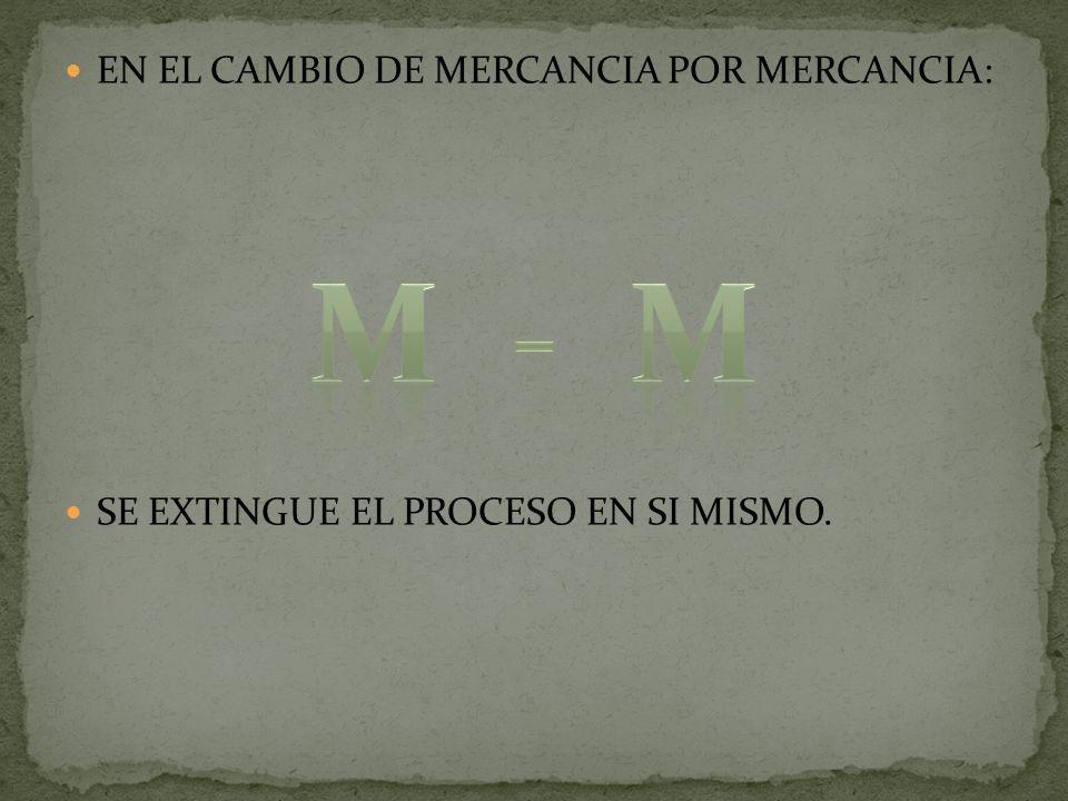 M - M EN EL CAMBIO DE MERCANCIA POR MERCANCIA: