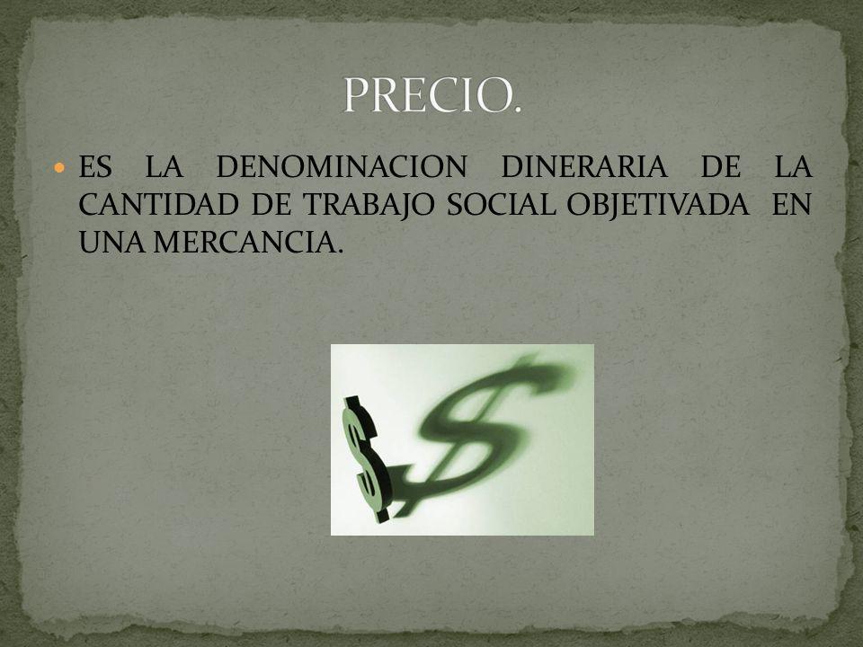 PRECIO.ES LA DENOMINACION DINERARIA DE LA CANTIDAD DE TRABAJO SOCIAL OBJETIVADA EN UNA MERCANCIA.