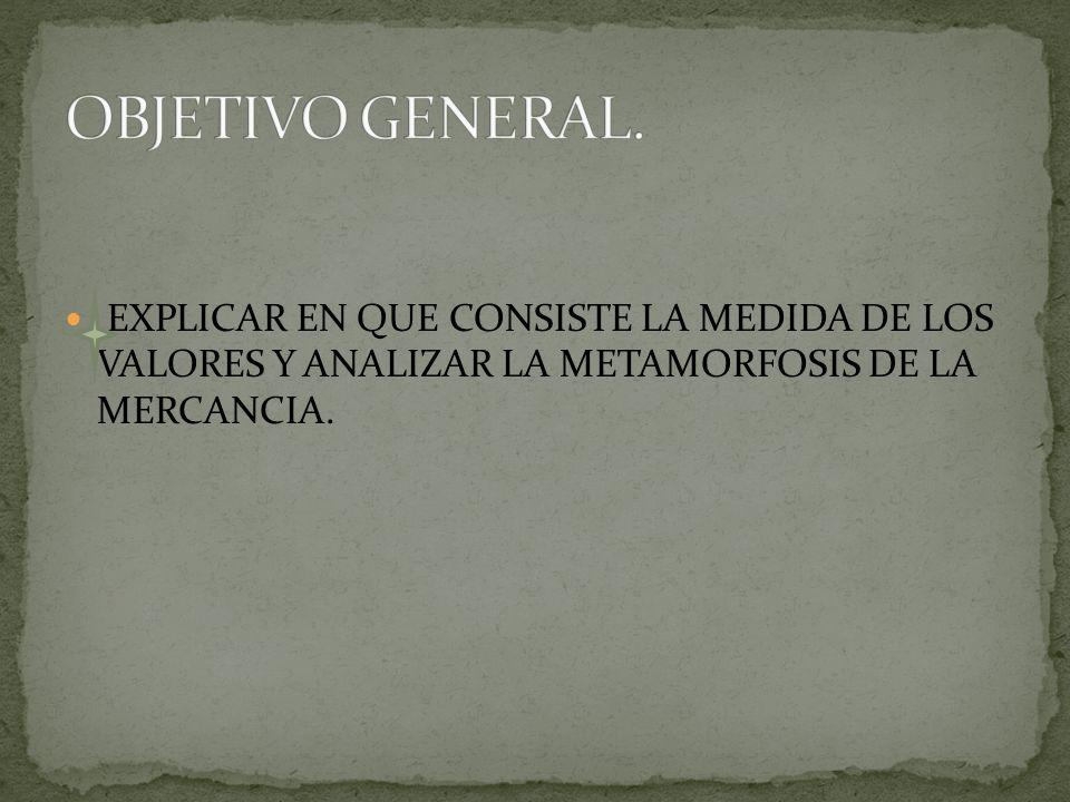 OBJETIVO GENERAL.EXPLICAR EN QUE CONSISTE LA MEDIDA DE LOS VALORES Y ANALIZAR LA METAMORFOSIS DE LA MERCANCIA.
