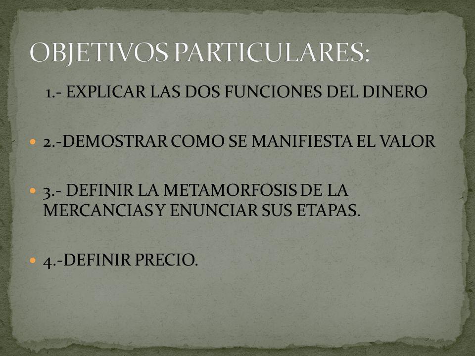 OBJETIVOS PARTICULARES:
