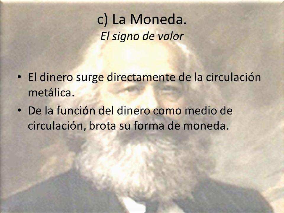c) La Moneda. El signo de valor