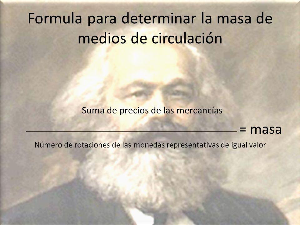 Formula para determinar la masa de medios de circulación