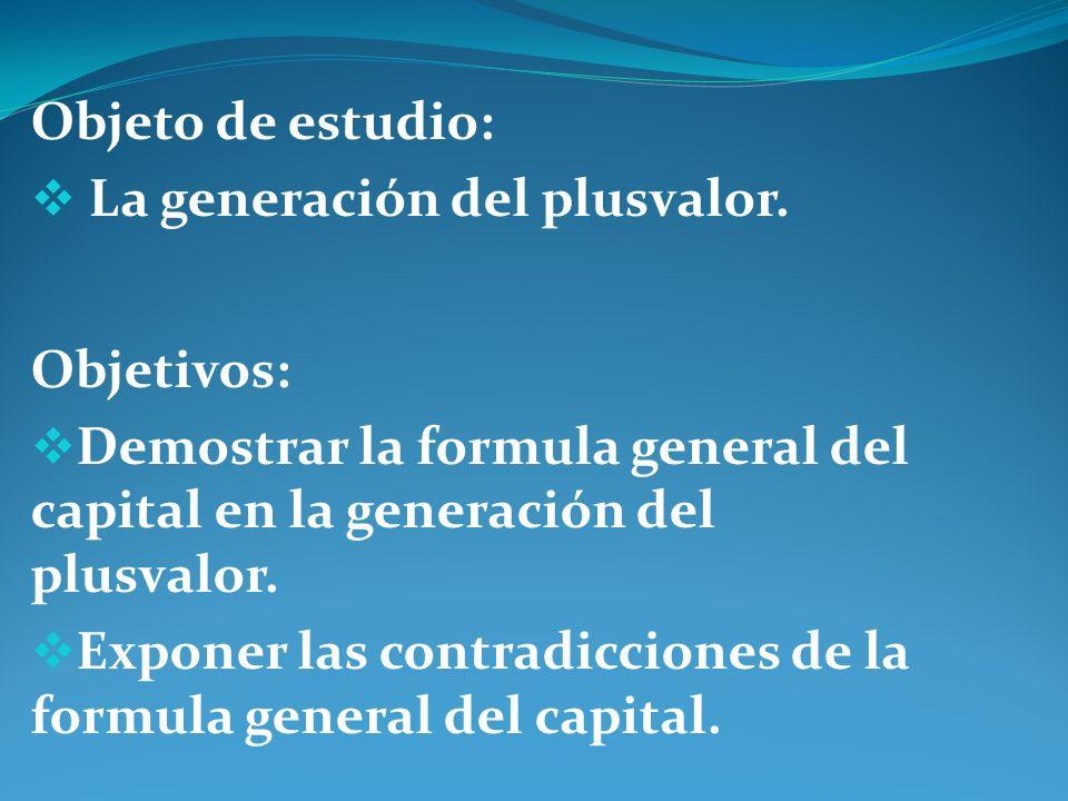 Objeto de estudio: La generación del plusvalor. Objetivos: Demostrar la formula general del capital en la generación del plusvalor.
